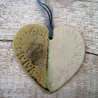 Hand made Loveheart hanger, ceramic lovehearts, gift idea, home decor, pottery