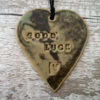 SALE- 'Good Luck' Loveheart hanger, ceramic lovehearts, gift idea,  pottery,