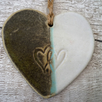 Unique Loveheart hanger, ceramic lovehearts, gift idea, home decor, pottery