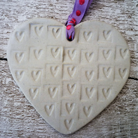 Bespoke Hand made Loveheart hanger, ceramic lovehearts, home decor, pottery