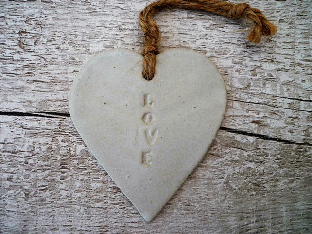 Loveheart hanger, ceramic lovehearts, pottery, gift idea, home decor, gift idea