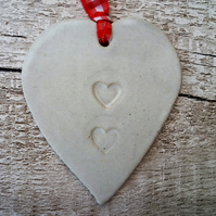 Handmade Loveheart hanger, ceramic lovehearts, home decor, pottery, gift idea