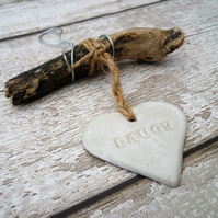 Handmade Driftwood, Loveheart hanger, pottery, gift idea, birthday, clay,