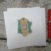 Bespoke Gift card, one off design, blank greetings card, ceramic design attached