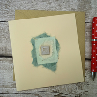 Handmade ceramic Gift card, one off, blank greetings card, ceramic design