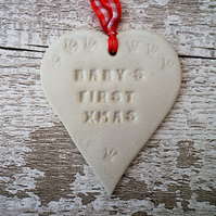 Ceramic heart, Baby's First xmas Loveheart hanger, handmade ceramic loveheart