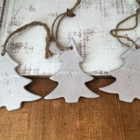 Ceramic christmas tree decorations, ceramic hanger, handmade, pottery, UK
