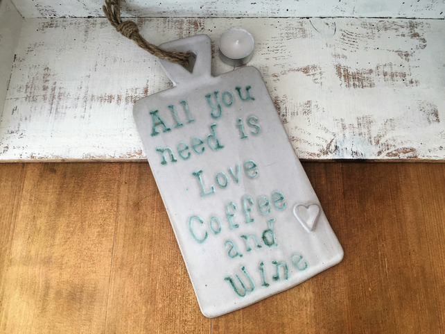 Handmade Ceramic novelty hanging board, home decor, gift idea, cafe,