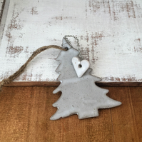 Ceramic,handmade tree hanger, one off tree with wire loveheart, garden, home
