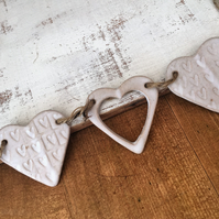 Unique Heart hanger, ceramic bunting, pottery, home decor, gift idea