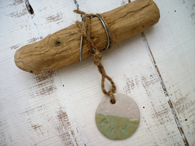 Handmade Driftwood, Loveheart hanger, pottery, gift idea, birthday, home decor