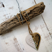 Unique Driftwood, Loveheart hanger, pottery, gift idea, birthday, home decor