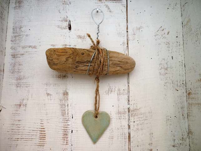 Ceramic Driftwood heart hanger, pottery, gift idea, birthday, home decor