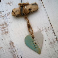 Handmade Driftwood, Loveheart hanger, pottery, gift idea, birthday,home decor