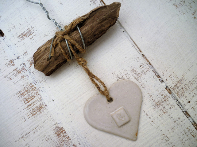 Unique Driftwood Loveheart hanger, pottery, gift idea, birthday, home decor