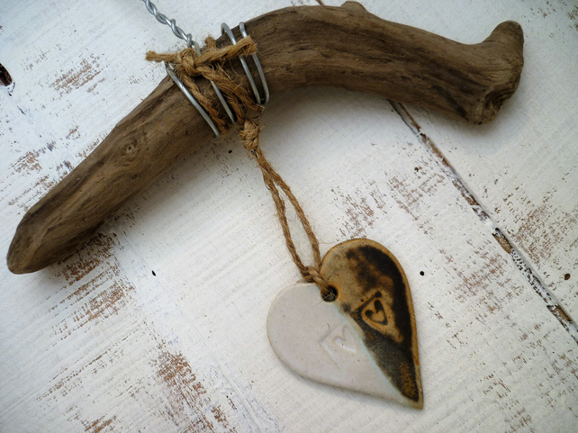 Bespoke Driftwood, Loveheart hanger, pottery, gift idea, birthday, home decor