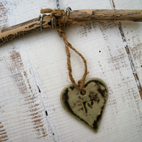 Shabby chic,Driftwood, Loveheart hanger, pottery,gift idea, birthday, home decor