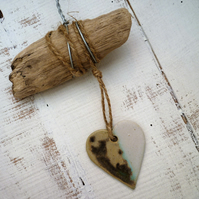 Driftwood, Loveheart hanger, Unique pottery, gift idea, birthday, home decor