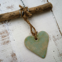 Handmade Loveheart Driftwood hanger, pottery, gift idea, birthday,home decor