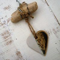 Clay Driftwood, Loveheart hanger, pottery, gift idea, birthday, home decor