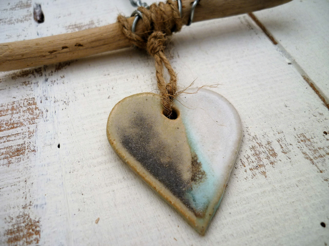 Ceramic Driftwood, Loveheart hanger, pottery, gift idea, birthday, home decor