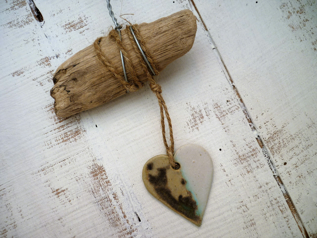 Wonderful Driftwood, Loveheart hanger, pottery, gift idea, birthday, home decor