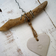 Pottery Driftwood, Loveheart hanger, gift idea, birthday,  home decor