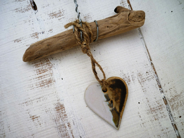 Shabby chic,Driftwood, Loveheart hanger, pottery, gift idea, birthday,home decor