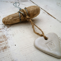 Cute Driftwood, Loveheart hanger, pottery, gift idea, birthday, home decor