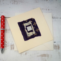 Handmade ceramic Gift card, blank greetings card, ceramic design