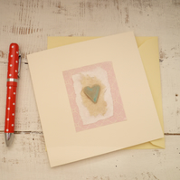 Handmade ceramic Gift card, valentines day, blank greetings card