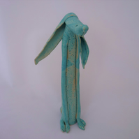 Ceramic hare, one off handmade design, turquoise, UK, gift for her,him