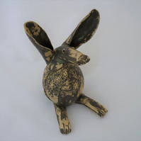 SALE- Bespoke Ceramic hare, one off pottery, hand made gift idea, black,