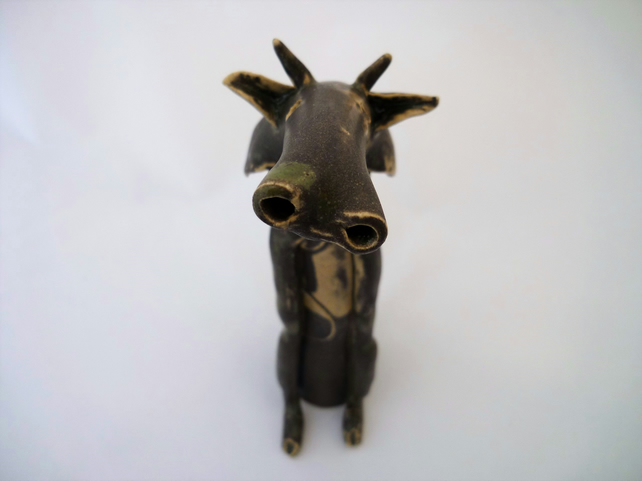 Ceramic cow, hand made one off design, gift idea, home decor,