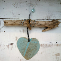One off Driftwood, Loveheart hanger, pottery, gift idea, birthday, clay,