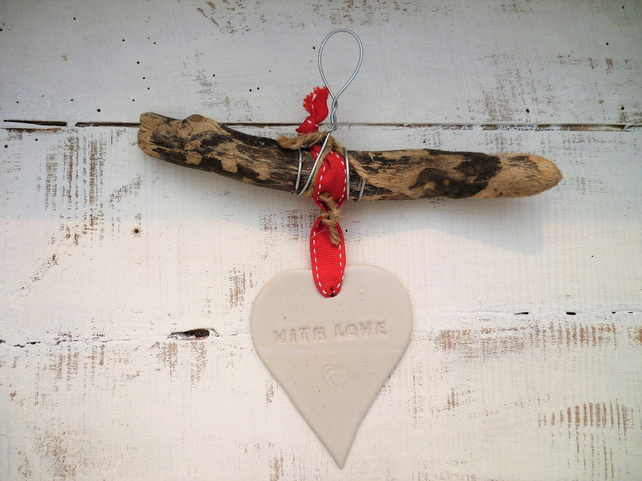 Bespoke Driftwood, Loveheart hanger, pottery, gift idea, birthday, clay,