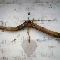 Unique Driftwood, Loveheart hanger, pottery, gift idea, birthday, clay, UK