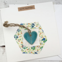Bespoke hand made greeting card, ceramic card,