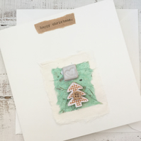 Handmade christmas card, bespoke Gift card, one off design, greetings card