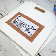 Bespoke Sausage dog card, greetings card, Dachshund art, sausage dog decor