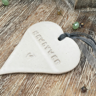 'Newlywed' Loveheart hanger, ceramic lovehearts, home decor, pottery, gift idea