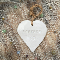 SALE- Loveheart hanger, ceramic lovehearts, gift idea, home decor, pottery