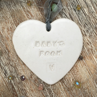 Baby's room Hand made Loveheart hanger, ceramic lovehearts, gift idea,home decor