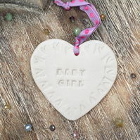 Hand made 'Baby Girl' Loveheart hanger, ceramic lovehearts, gift idea, pottery