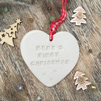 Baby's first Christmas Loveheart hanger, ceramic lovehearts,