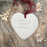 Ceramic heart, Baby's first Christmas Loveheart hanger, handmade pottery