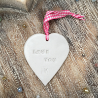 SALE- Loveheart hanger, ceramic lovehearts, gift idea, home decor, pottery,