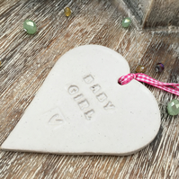 SALE- 'Baby girl' Loveheart hanger, ceramic lovehearts, home decor, pottery,
