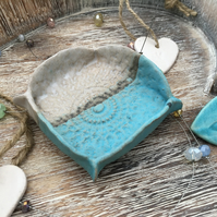 Unique Ring dish, earring dish, pottery, turquoise, white and grey glaze