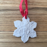 Christmas decoration, ceramic snowflake, ceramic hanger, handmade decoration